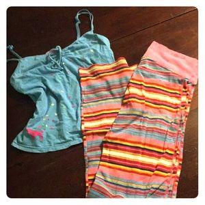 Pink two piece pajamas